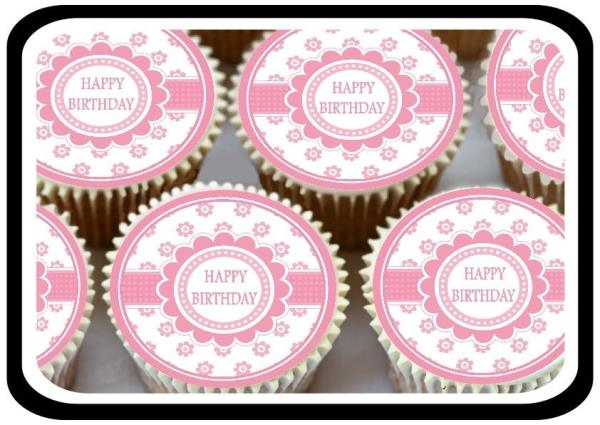 24 X PINK HAPPY BIRTHDAY EDIBLE CUPCAKE TOPPERS THICK RICE PAPER 1300��