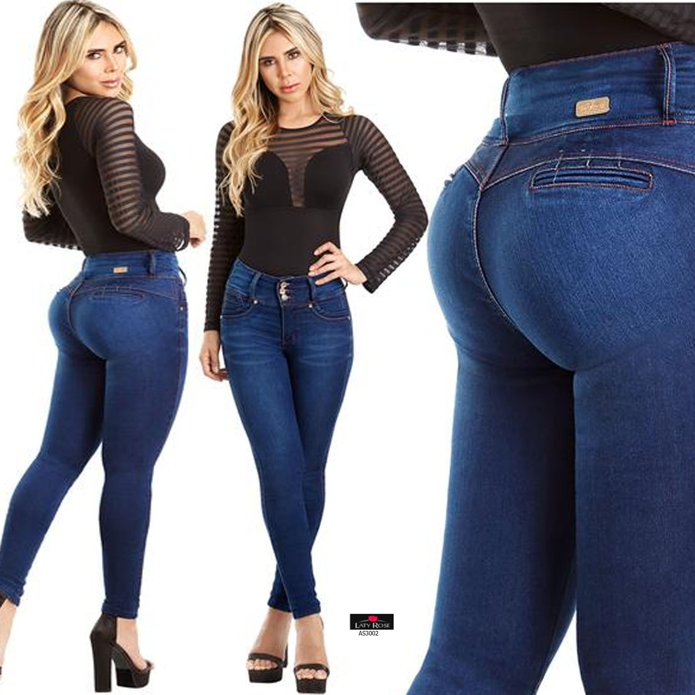 Laty Rose Jeans Levanta Cola Denim Wide Waistband Butt Lift Blue Classic Push Up Ebay