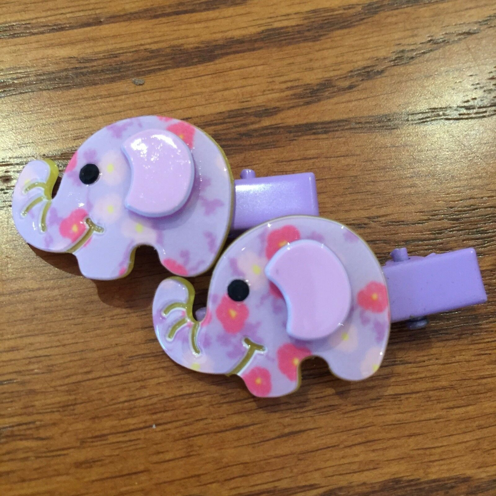 SET OF TWO ELEPHANT 2 PURPLE GIRLS BABY HAIR CLIPS