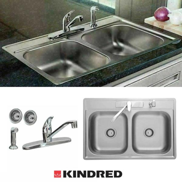 Details about 33 x 22 x 7 Drop-In Kitchen Sink Stainless Steel Double Bowl  + Faucet + Sprayer