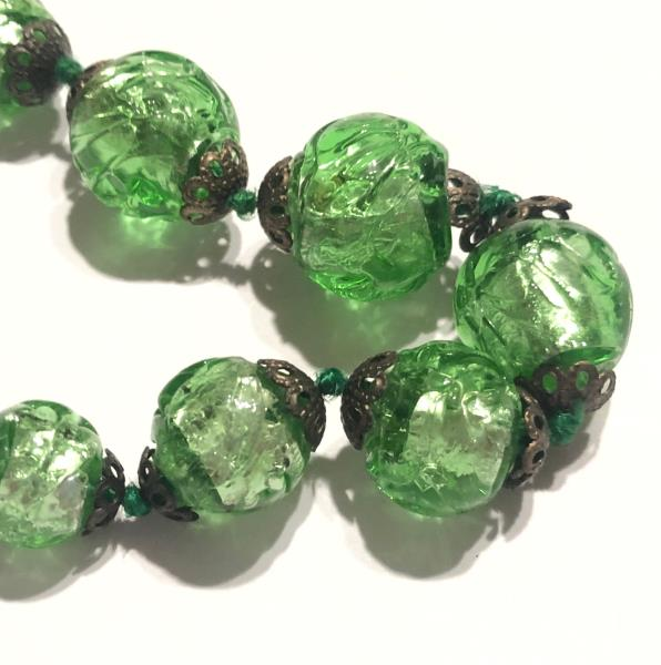 Vintage Antique Glass Beads Italian Foil Beads Venetian Beaded Necklace Ebay