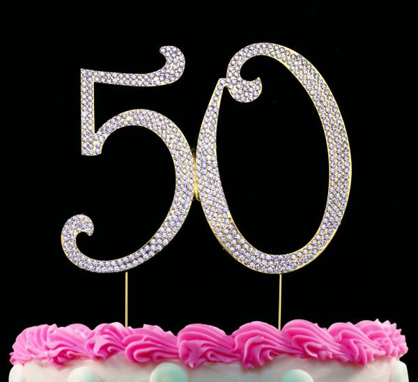 Super Gold 50 Cake Topper Bling 50Th Birthday Cake Toppers Anniversary Funny Birthday Cards Online Aeocydamsfinfo