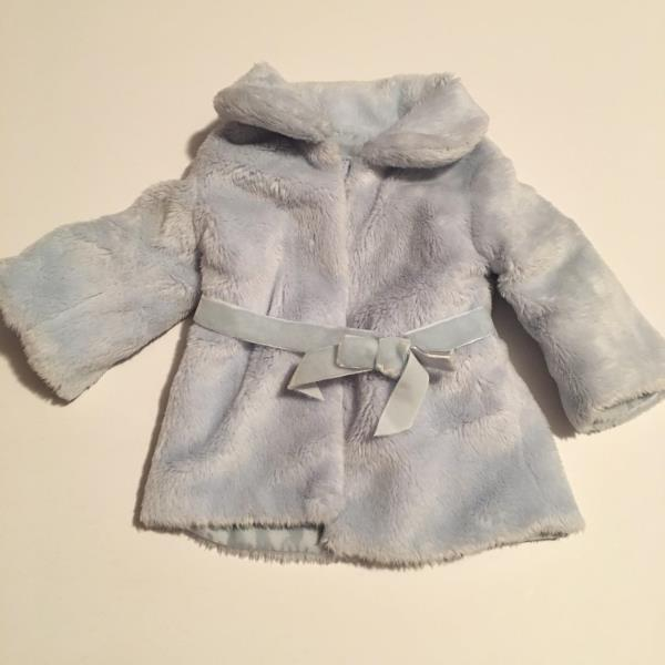 NEW American Girl Snow Flurry Outfit Light Blue Winter Fur Coat Jacket RETIRED