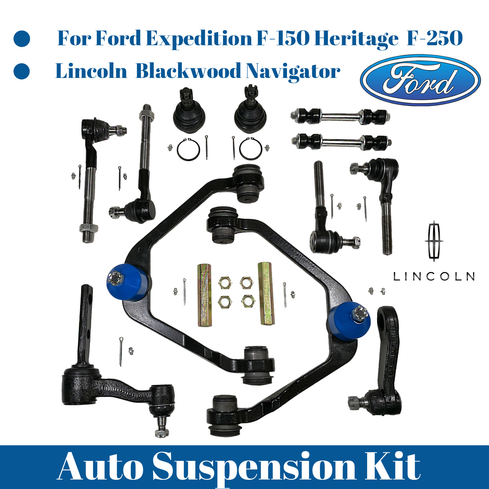 Kit for Ford F-150 2WD 14Pc Front Suspension Control Arm Ball Joint Tie Rod Ends