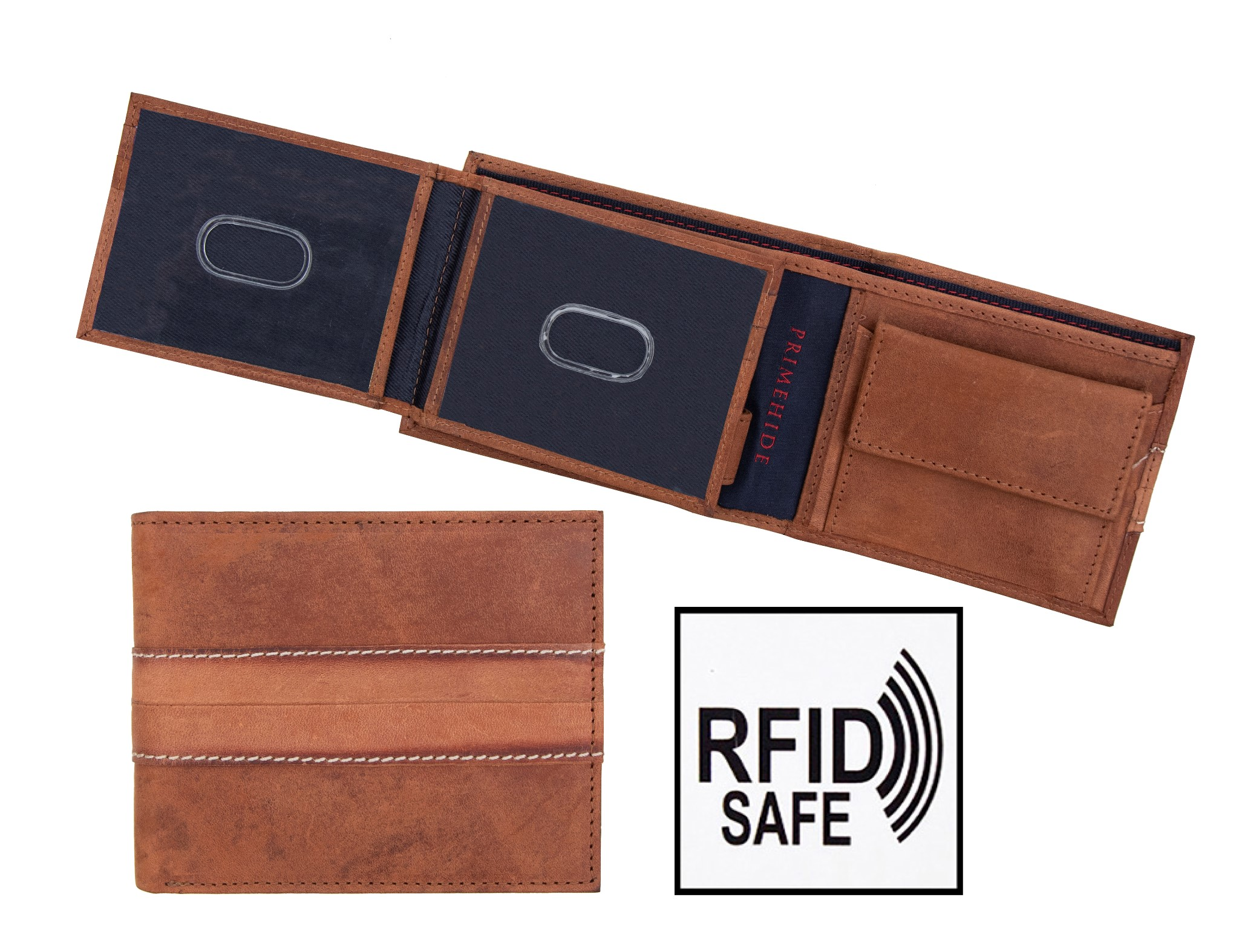 Prime Hide Chester Men/'s Thick Navy Trifold Leather Wallet RFID Blocking
