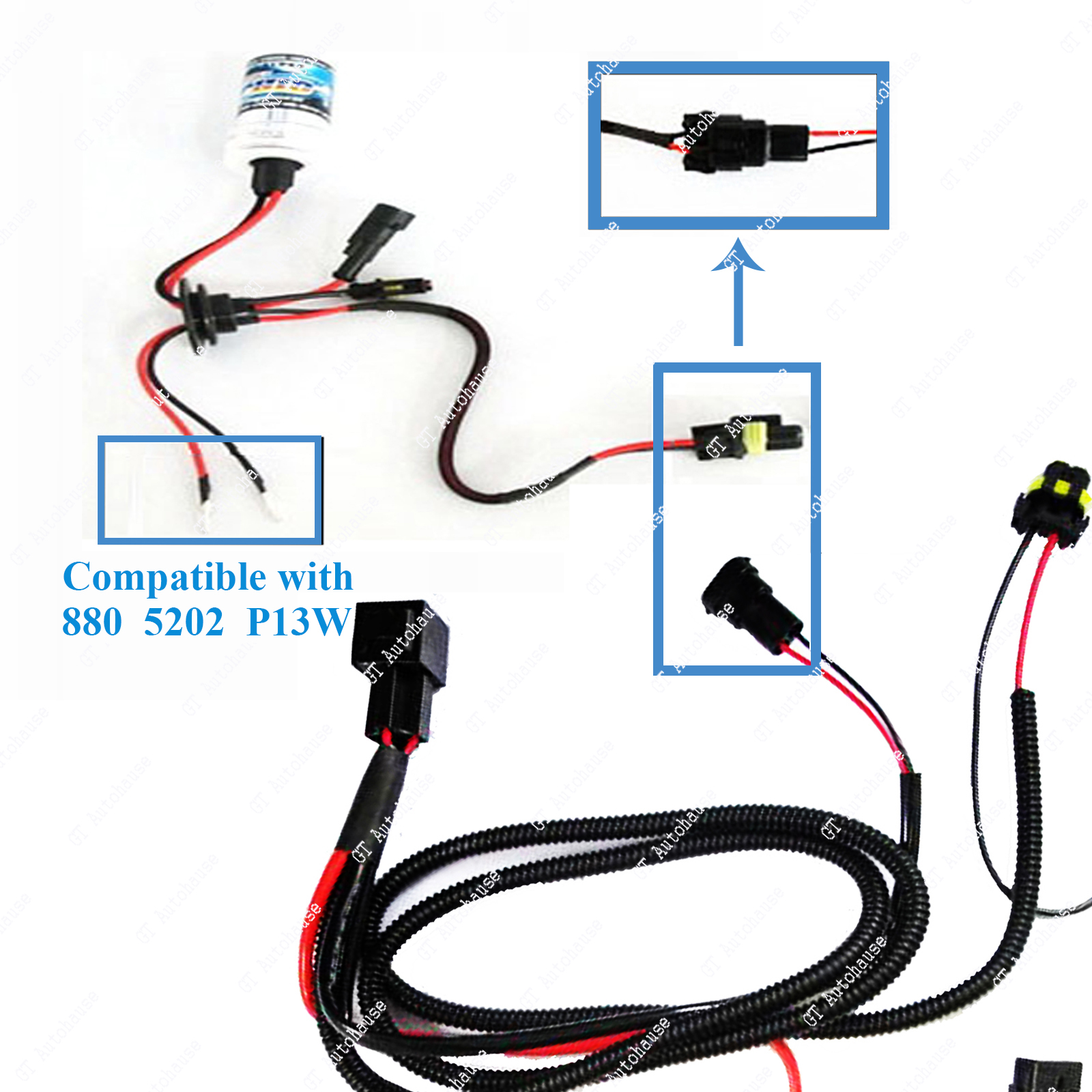 Xenon Hid Relay Wiring Harness Kit For H1 H7 H8 H10 H11