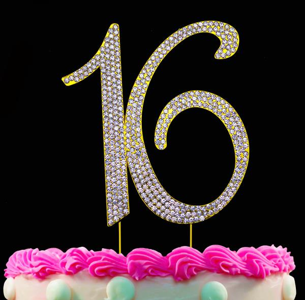 Strange 16Th Birthday Party Cake Topper Gold Cake Number 16 Sweet Sixteen Funny Birthday Cards Online Fluifree Goldxyz