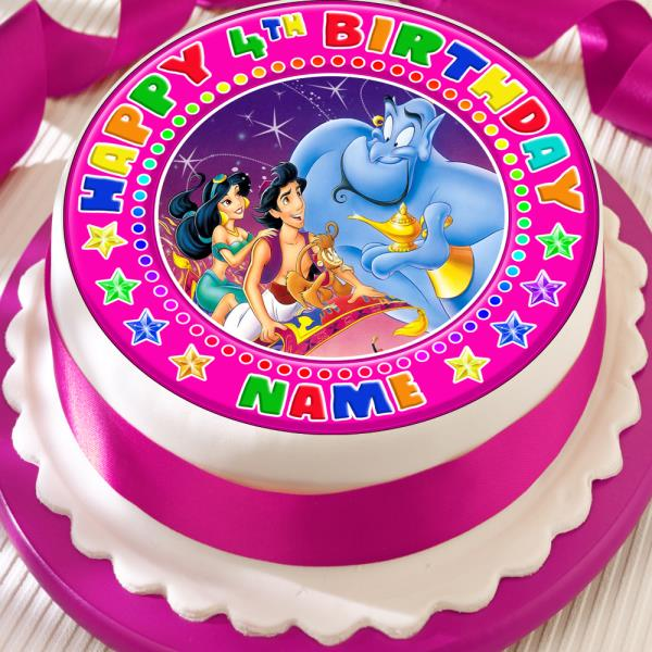 Cool Aladin Pink Birthday Personalisd 7 5 Inch Precut Edible Birthday Personalised Birthday Cards Veneteletsinfo