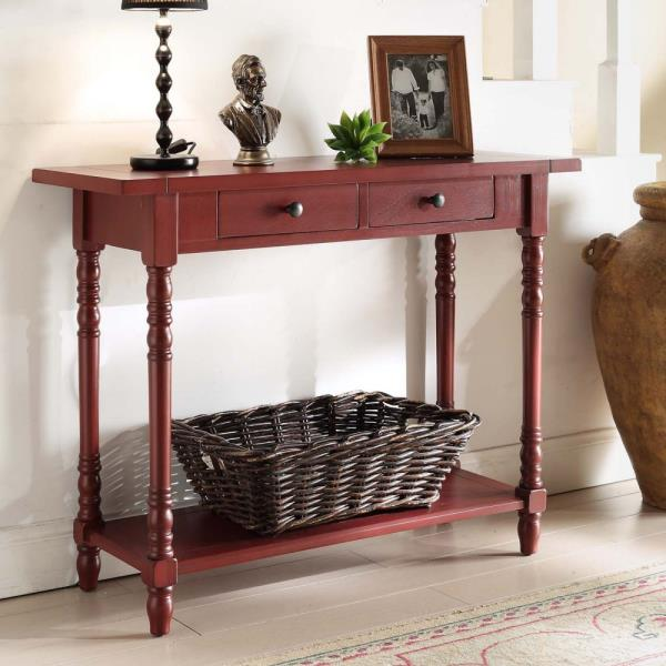 Astounding Details About Red Wooden Console Table Behind Sofa Entry Way Hallway Accent Storage 2 Drawers Pabps2019 Chair Design Images Pabps2019Com