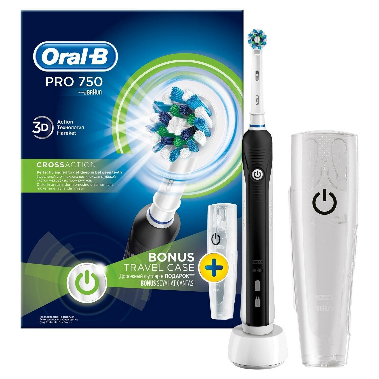 Oral B Pro 750 Electric Rechargeable Toothbrush Cross Action Black Travel Case 4210201137177 Ebay