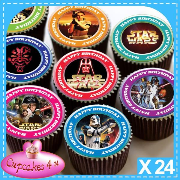 Brilliant 24 X Star Wars Happy Birthday Edible Cupcake Toppers Premium Rice Funny Birthday Cards Online Bapapcheapnameinfo