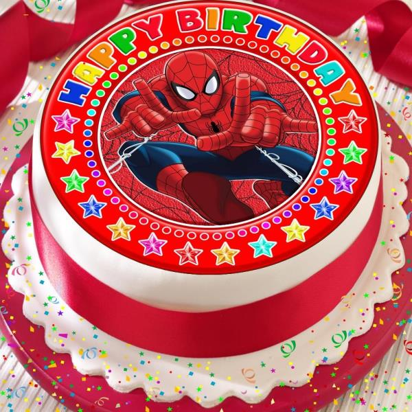 Prime Spiderman Happy Birthday Red Precut 7 5 Inch Edible Birthday Cake Funny Birthday Cards Online Overcheapnameinfo