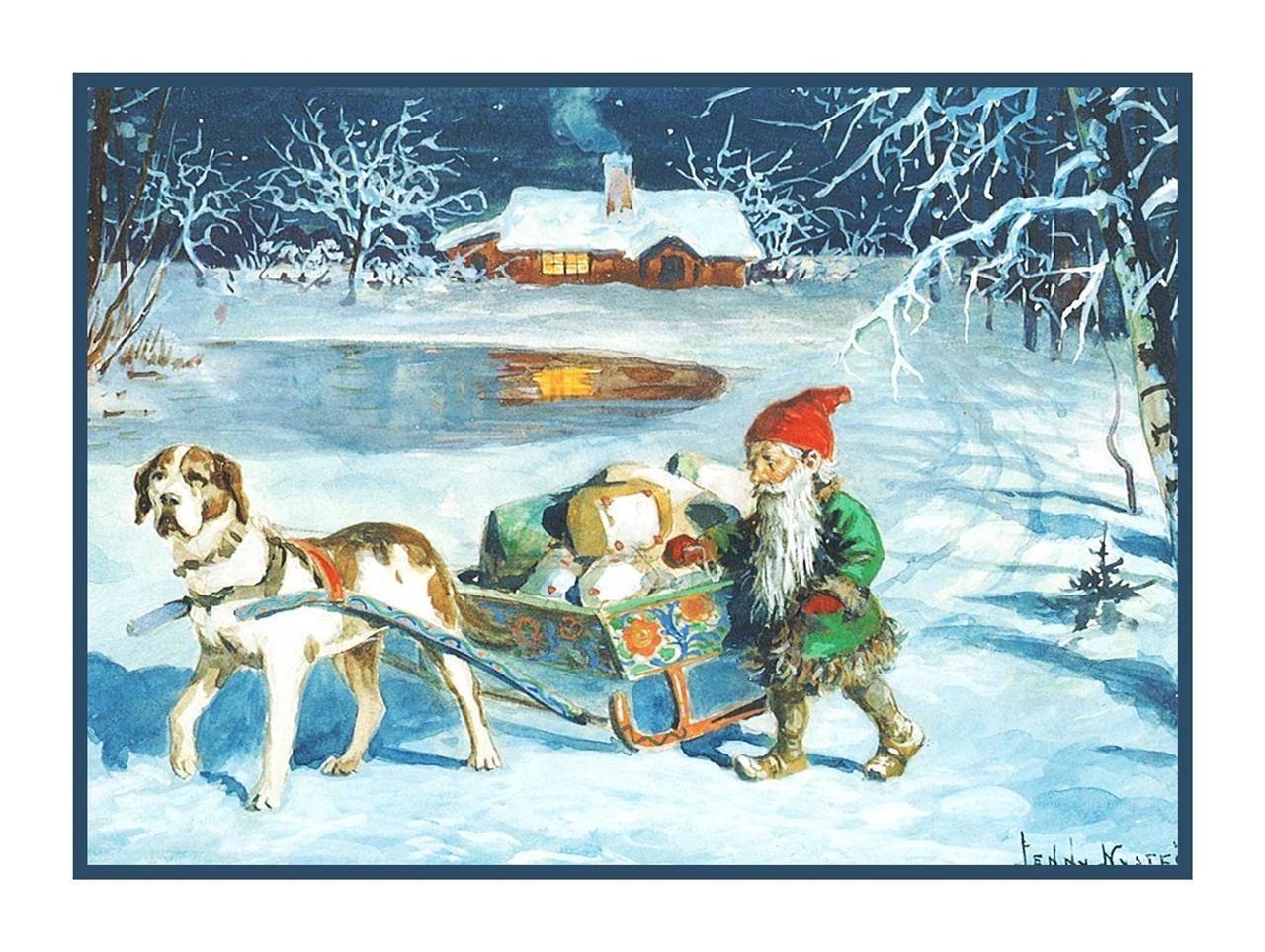 Swedish Jenny Nystrom Elf Gnome Sled Presents Goats Counted Cross Stitch Pattern