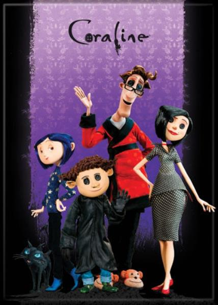 Coraline Animated Movie Family Portrait On Purple Refrigerator Magnet New Unused Ebay