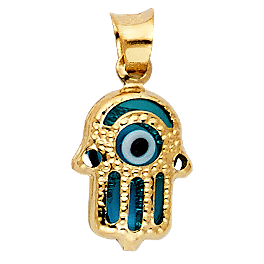 14K solid white gold Evil Eye charm Necklace,greek evil eye double sides pendant,Lucky Charm evil eye with black and white zirconia