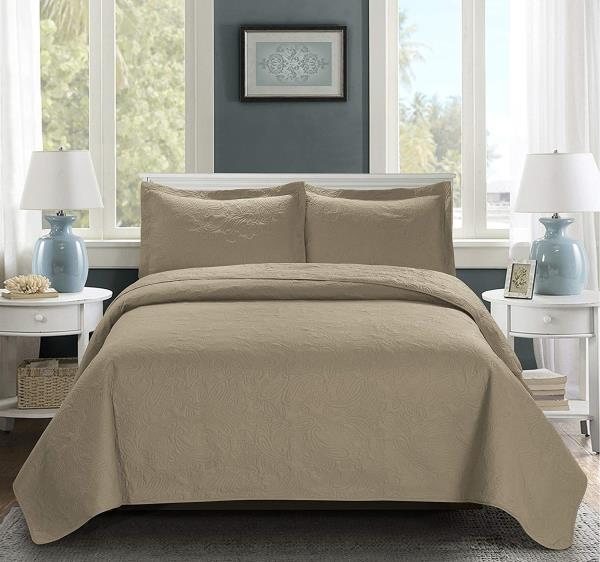 Full Queen Cal King Bed Taupe Beige Paisley 3 pc Quilt Set Bedspread Coverlet