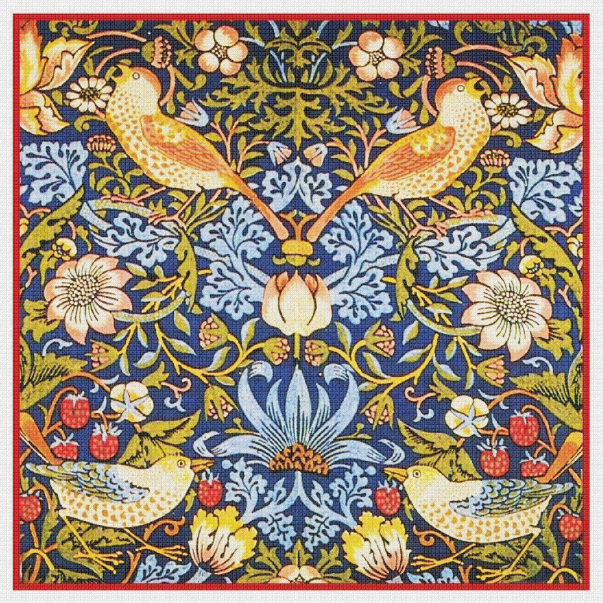 William Morris Red Strawberry Thief Counted Cross Stitch Chart Pattern