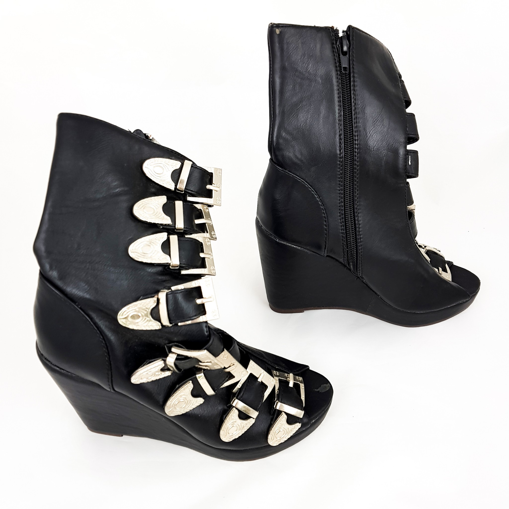 Details about Women's Goth Black Metal Buckle Boots Ladies Peep Toe Gladiator Wedge Shoes New