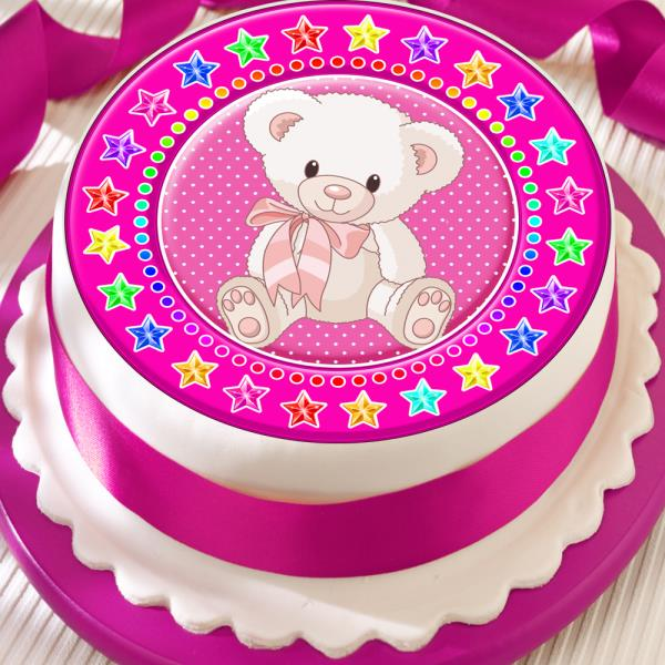 Tremendous Teddy Bear Pink Star Border Precut Edible Birthday Cake Topper Personalised Birthday Cards Epsylily Jamesorg