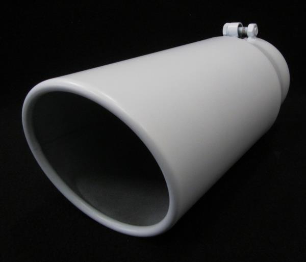"MATTE WHITE 4/"" INLET 6/"" OUTLET 12/"" L DIESEL EXHAUST TIP FORD DODGE CHEVY"