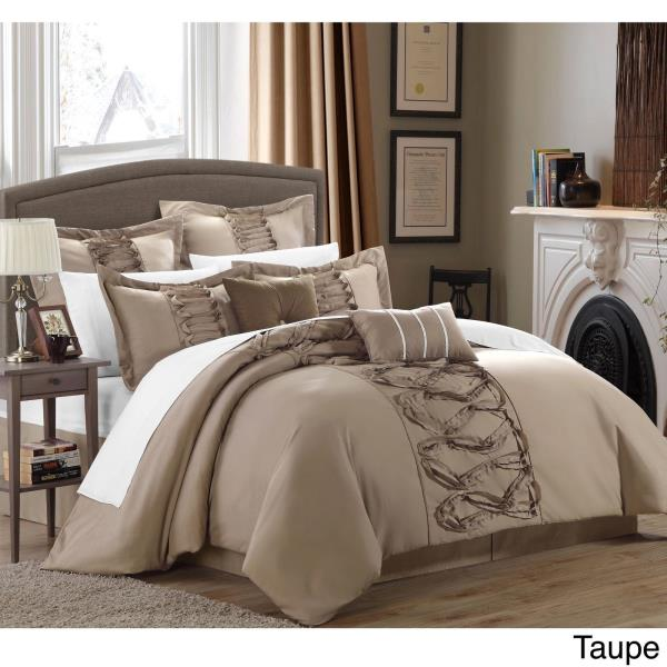 Solid Taupe Brown Ruffles Pintuck Pleat 8 pc Comforter Set Queen King Bedding