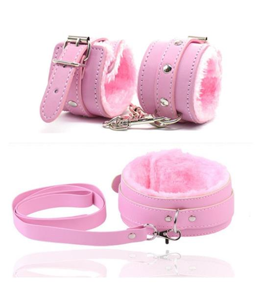 New Pink Faux Leather Soft Furry Neck Collar Choker with Leash Role Play Set