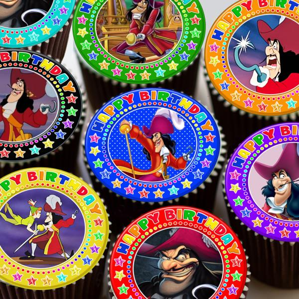 Astounding Captain Hook Pirate Mixed Happy Birthday Edible Cupcake Topper Personalised Birthday Cards Arneslily Jamesorg