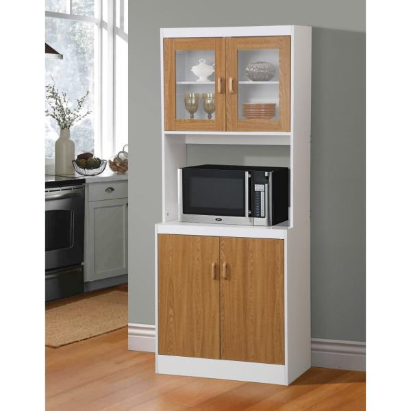 Details about Oak White Tall Microwave Cart Kitchen Storage Cabinet  Cupboard Pantry Organizer