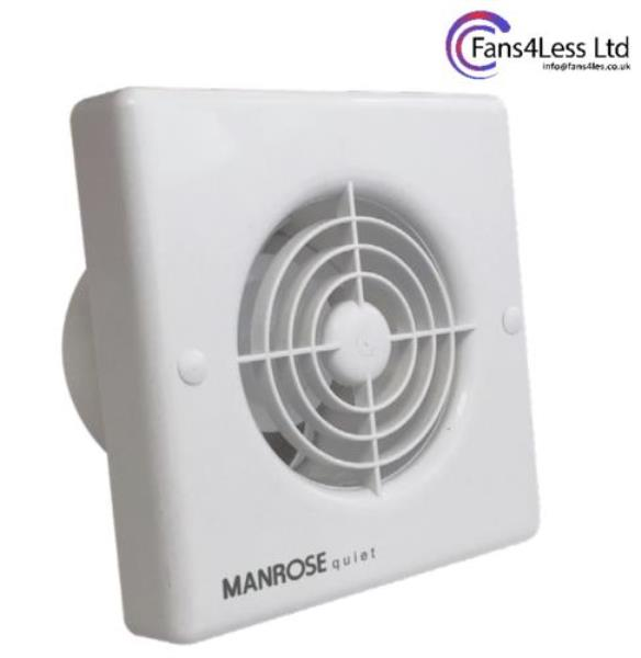 "Manrose QF100 Timer Std Humidity Pullcord Extractor Bathroom Shower Fan 4/"" 100mm"