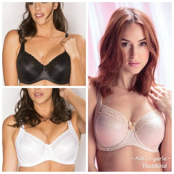 Pour Moi 3814 Body Comfort Side Support Bra Black or Oyster 32-44