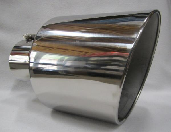 "POLISHED STAINLESS 4/"" INLET 5/"" OUTLET 15/"" L DIESEL EXHAUST TIP CHEVY DURAMAX"
