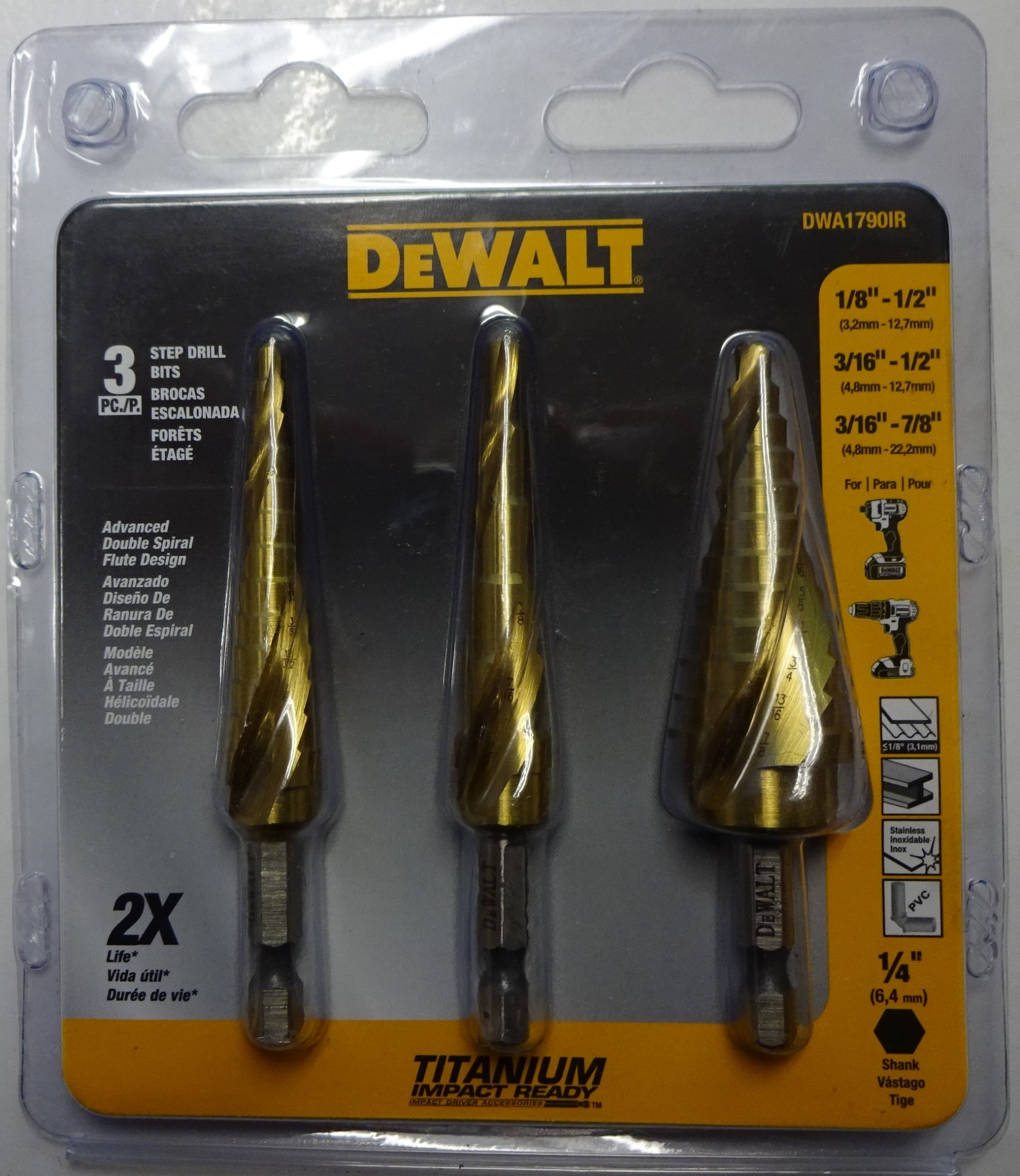 DEWALT DWA1790IR 3-Piece IMPACT READY Step Drill Bit Set