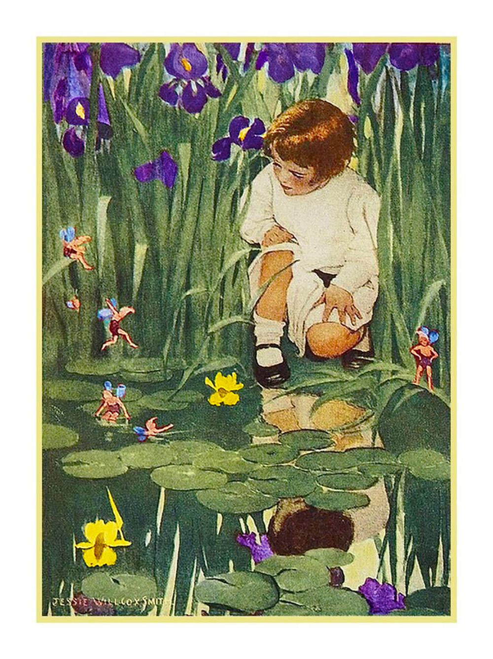 Young Girl Watering Flowers Jessie Willcox Smith  Counted Cross Stitch Pattern