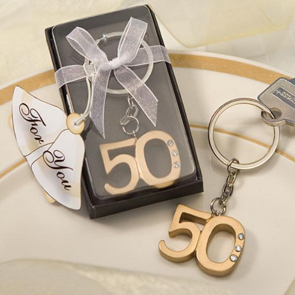 Gold 50th Keyring Favors Key chain 50th Wedding Anniversary Pack of 20 Favors