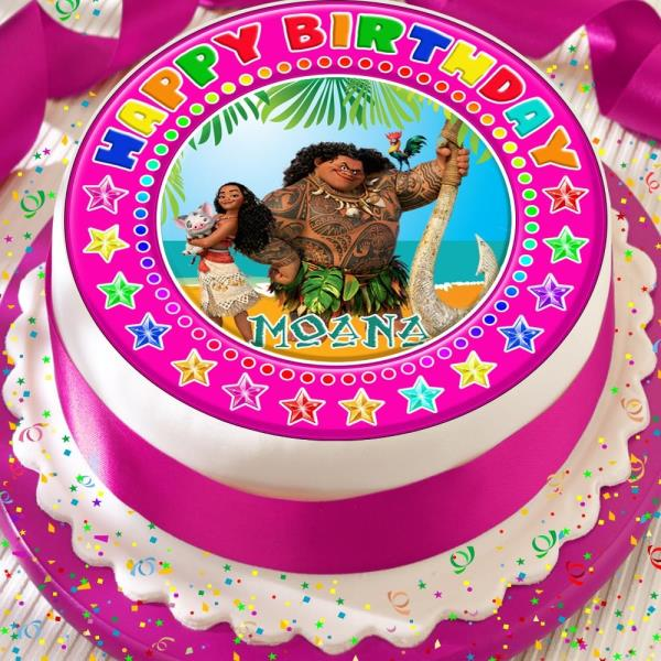 Miraculous Moana Maui Pink Precut Edible 7 5 Inch Happy Birthday Cake Topper Personalised Birthday Cards Veneteletsinfo