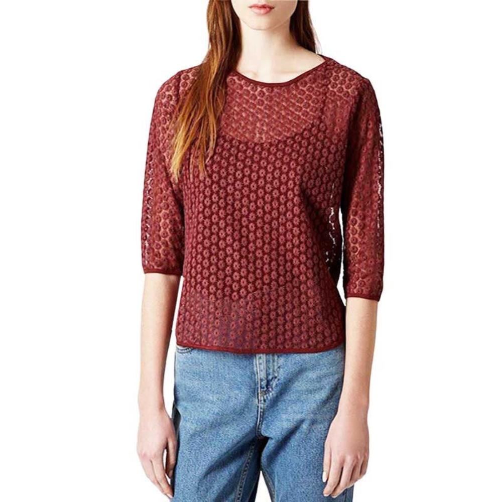NEW Ladies TOP SHOP Burgundy Daisy 3//4 Sleeve Top in Size 10  RRP £25.00