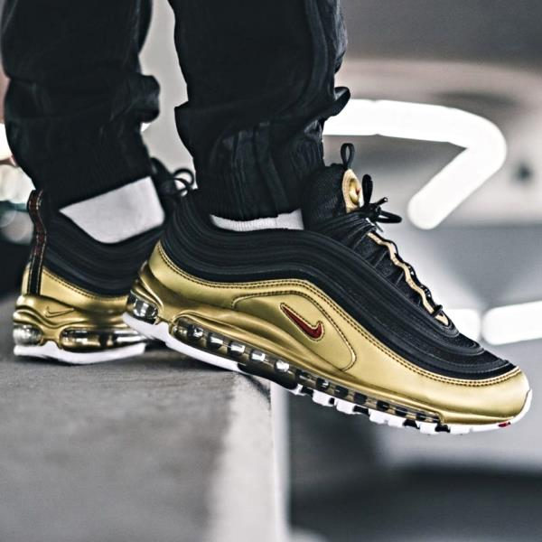 best shoes skate shoes low cost Nike Air Max 97 QS Black Gold Size 7 8 9 10 11 12 13 Mens Shoes ...