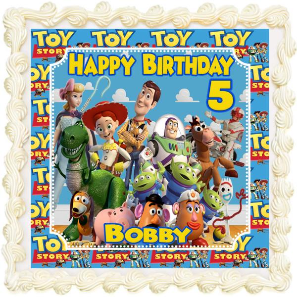 Astonishing Toy Story Personalised Rectangle Square Icing Edible Costco Cake Personalised Birthday Cards Veneteletsinfo