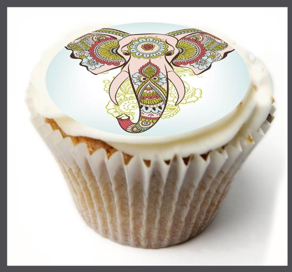 icing sheet.872 Edible Cupcake Toppers x20 Elephant Toppers-wafer sheet