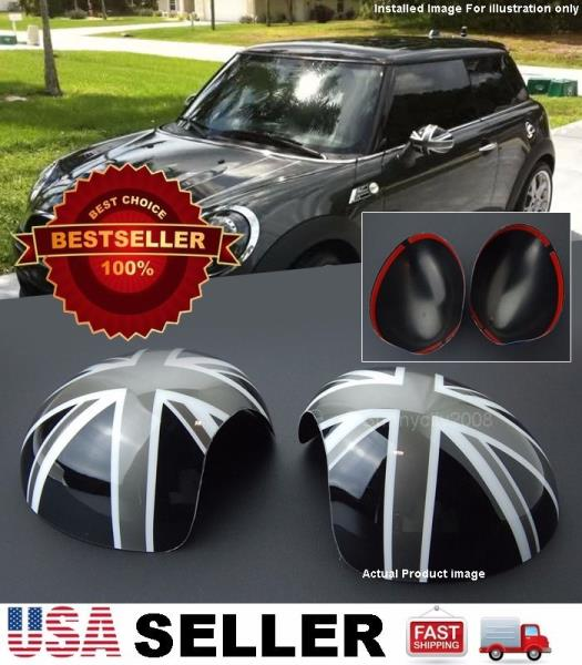 Black//Gray Union Jack UK Flag ABS Sticker Cover Trim Cap for Mini Cooper ONE S JCW R55 Clubman 2010-2016 Door Handle with Key Hole 2 Pieces