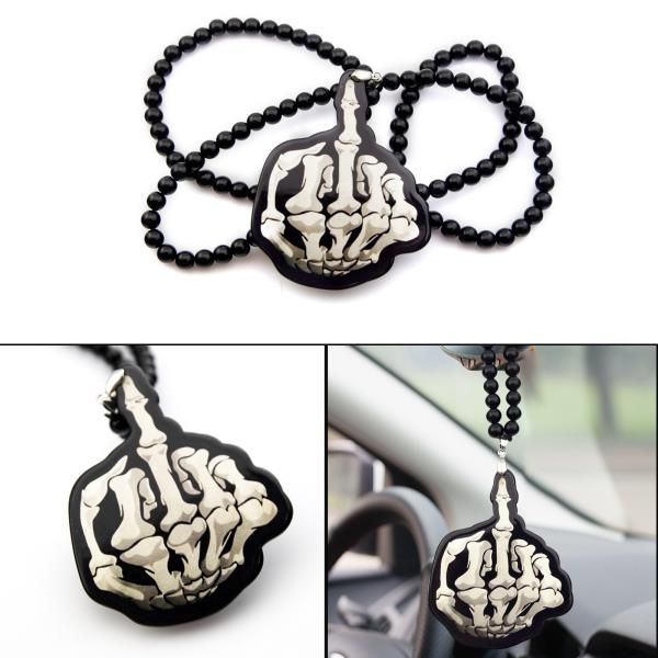 Mad Bone Middle Finger Rearview Mirror Hanging Charm Dangling Pendant Ornament