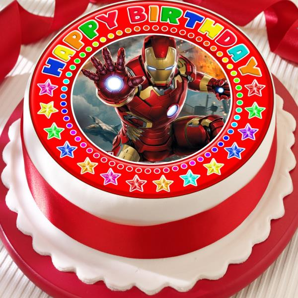 Magnificent Ironman Precut Edible Red Happy Birthday Cake Topper Decoration Ebay Birthday Cards Printable Trancafe Filternl