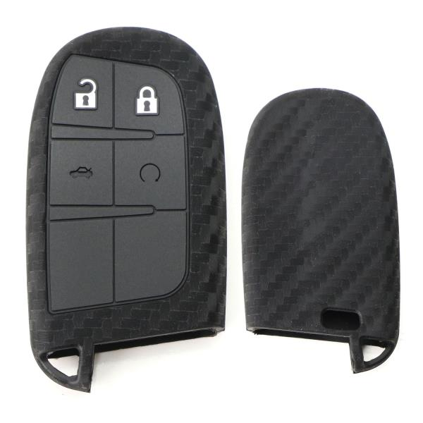 Carbon Fiber Silicone Key Fob Cover For Dodge Charger Challenger ...