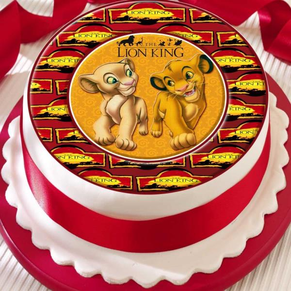 Astonishing Lion King Simba Nala Precut Edible Birthday Cake Topper Decoration Funny Birthday Cards Online Sheoxdamsfinfo