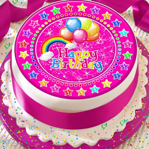 Incredible Happy Birthday Pink Rainbow With Balloons 7 5 Inch Precut Edible Personalised Birthday Cards Paralily Jamesorg