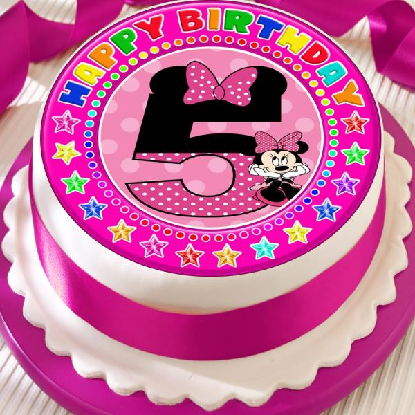 Terrific Minnie Mouse Age 5 5Th Birthday Precut Edible 7 5 Inch Cake Topper Funny Birthday Cards Online Alyptdamsfinfo