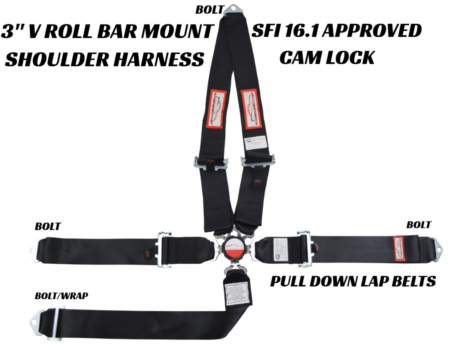 RaceQuip 743003 Pull Down Racing Harness SFI 16.1 Certified Black 6 Point Camloc