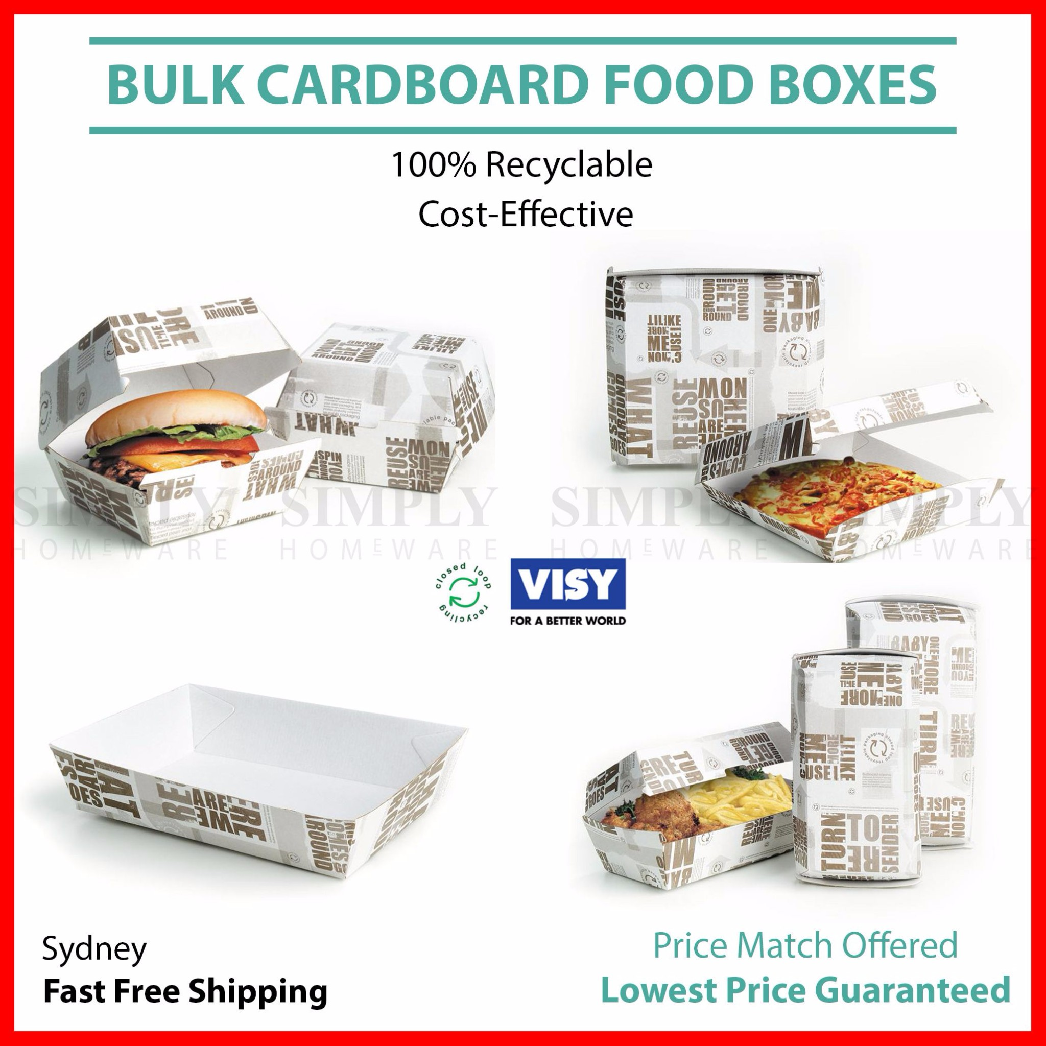 Cardboard Food Boxes Trays Dinner Snack Takeaway Burger Hot Dog Pizza Take Away