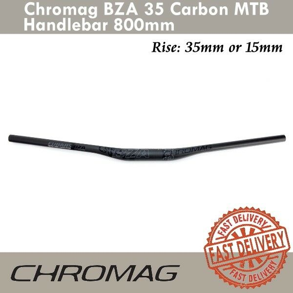 Chromag BZA 35 Carbon MTB Handlebar 35mm//15mm Rise 800mm Black w// Gray Decals