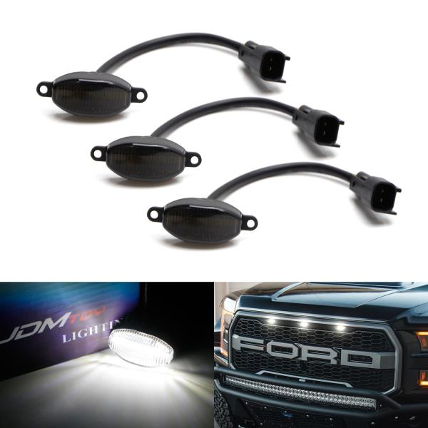 3pcs Front Grille Led Running Lights for 2010 2011 2012 2013 2014 Ford F150 Raptor NSLUMO White LED Front Grille Daytime Lights Assembly Direct Fit for OEM Grill Markers Smoke Lens